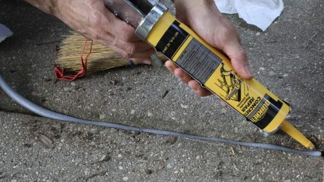 Use Foam Backer Rod Then Caulk To Fill A Wide Sidewalk