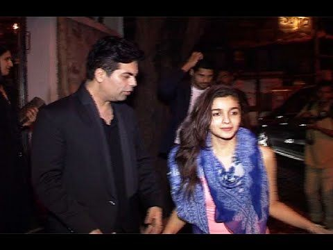 Alia Bhatt Siddharth Malhotra and Karan Johar spotted together at a night out party.