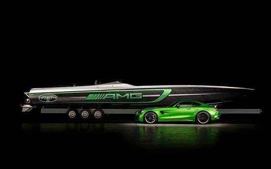 Cigarette and AMG is celebrating its 10 years of collaboration with a new boat inspired by the Mercedes-AMG GT R.