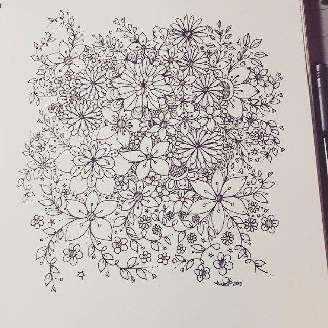 zentangle inspired flower doodles – art journal entry |