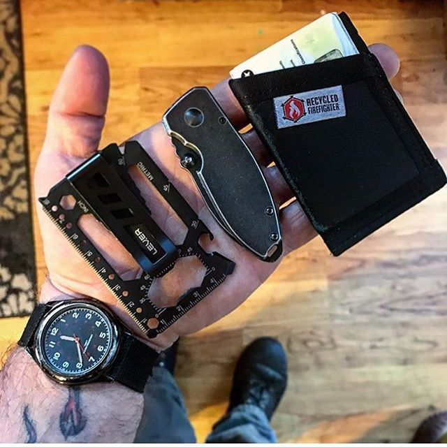 Today's awesome #EDC shot - a #regram from @beardngear - thank you! Our black #Toolcard with @recycledfirefighter #crktsquid #cheepwatch  #multitool #wallet #moneyclip #menstyle #everydaycarry #pocketdump #tactical #everyday_tactical #knife #guns #groom #groomsmengift #carpentry #woodworking #murica  #hunter #survival #prepper #designporn #gearporn #coolhunting #gadget #craftbeer