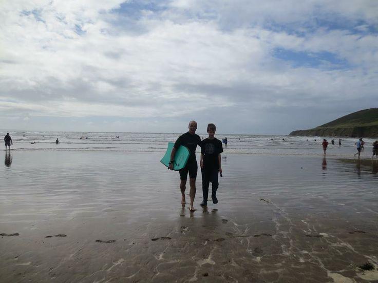 Surfing at Saunton Sands in August