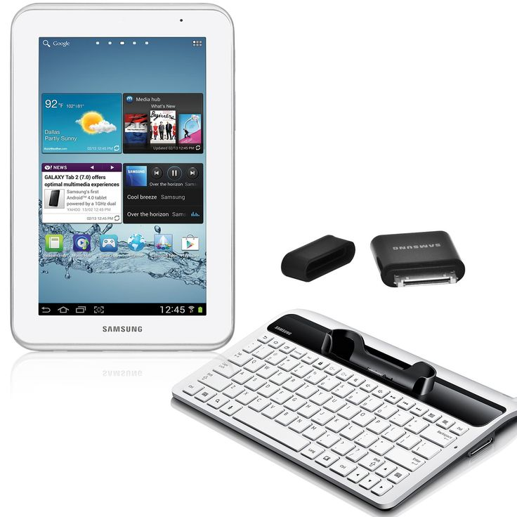 Samsung Galaxy Tab 2 7-Inch Student Edition (White). Android 4.0 Ice Cream Sandwich. 7-inch display. 8 GB Flash memory. Wi-Fi only connectivity. Includes keyboard dock and USB adapter.
