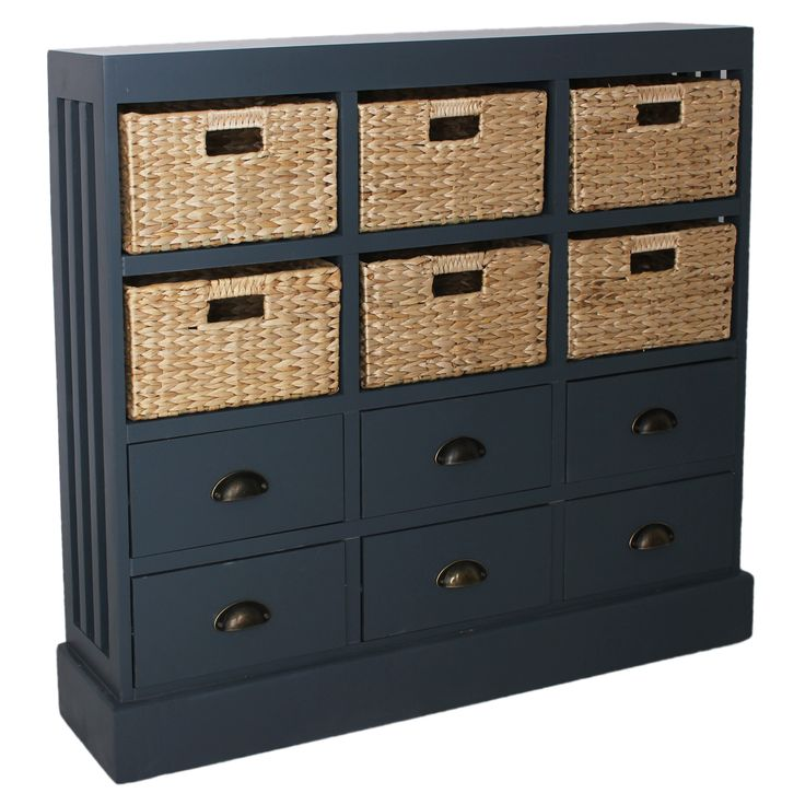 Showcasing 6 Natural Hand Woven Baskets And 6 Wood Drawers With Apothecary  Style Metal Handles, This Versatile Chest Is Perfect For Stowing Media ...