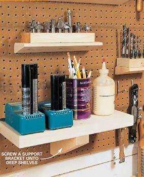 "Can't see why these easy pegboard ""shelves"" can't work in more decorative settings, too! (kitchen, bathroom, craftroom, home office)"