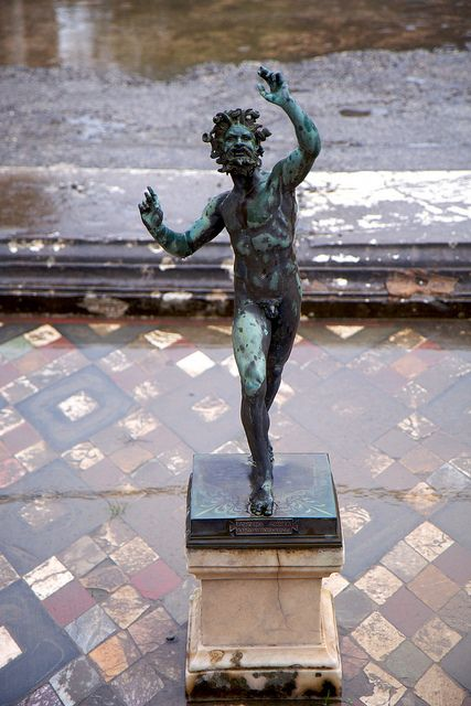The Dancing Faun, Pompeii, located in one of the largest, most luxurious homes in Pompeii.  This home, named House of the Faun after this bronze statue, contained many important works of art.