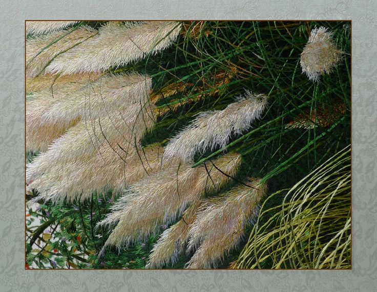 Pampas grass art by Yan Inlow. So lovely! She is so talented.