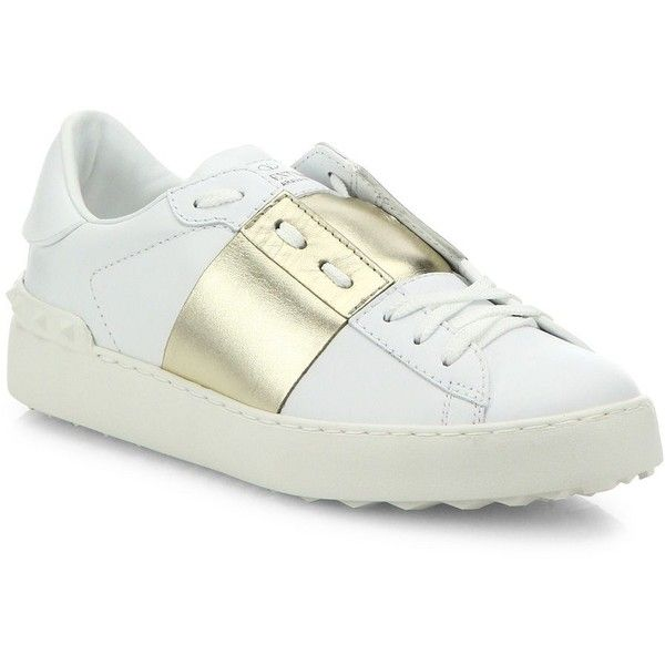 Valentino Open Metallic Striped Leather Sneakers ($725) ❤ liked on Polyvore featuring shoes, sneakers, apparel & accessories, white, leather slip on shoes, slip-on shoes, white slip on sneakers, white sneakers and white shoes