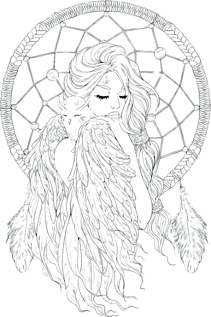 This is a photo of Amazing Printable Adult Coloring Pages Dream Catchers