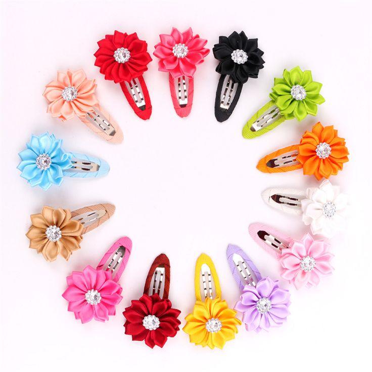 1pcs Cute Ribbon Flower Girls Hairpin Clip Barrette Girls Rhinestone Crystal Hair Accessories Clips hairpins  christmas Gift