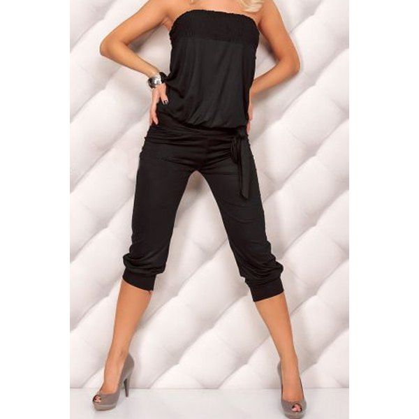$18.14 Stylish Strapless Sleeveless Solid Color Backless Women's Jumpsuit 1