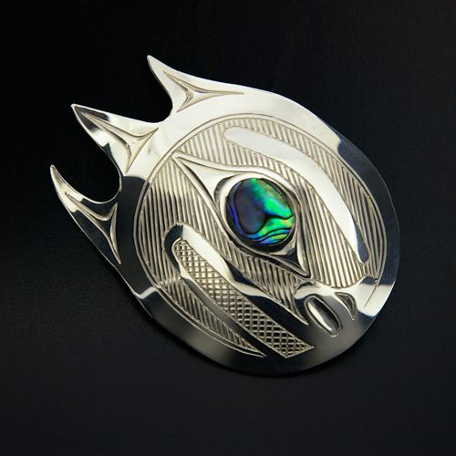 Barry Wilson Silver and Abalone Comet Pendant, Northwest Coast Native Art