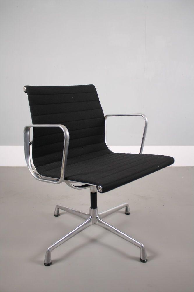 Vitra Charles Eames EA108 chair Black hopsack Alu frame