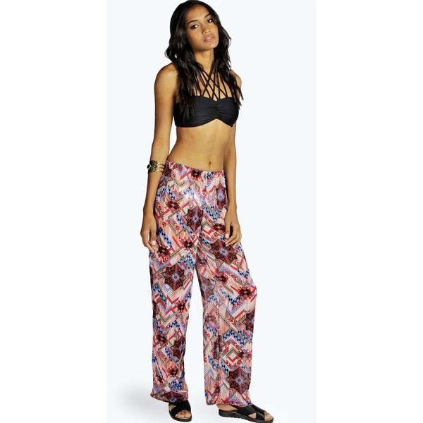 Boohoo Bali Aztec Print Chiffon Beach Trousers (19 CAD) ❤ liked on Polyvore featuring pants, aztec pants, chiffon pants, aztec print pants, beach pants and chiffon trousers