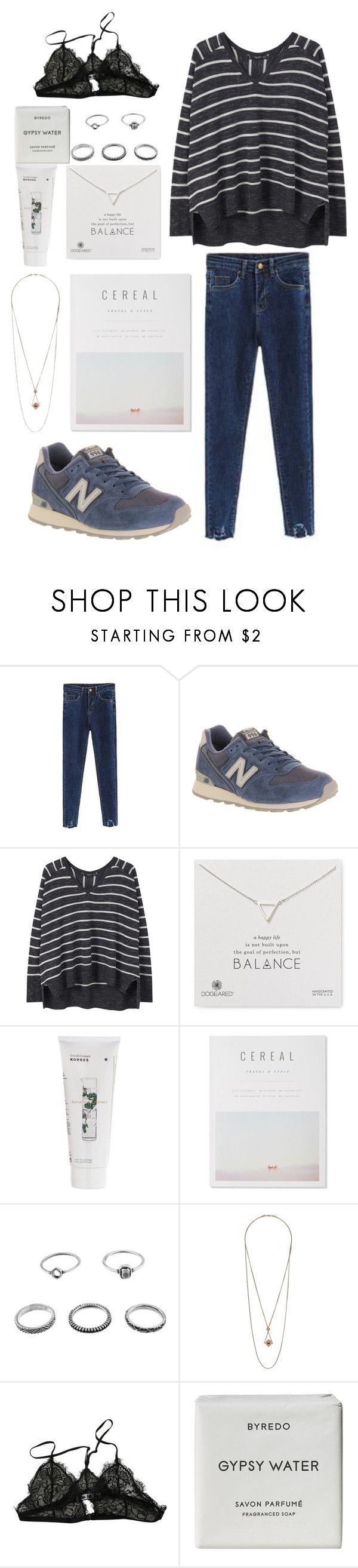 """Untitled #320"" by petitaprenent on Polyvore featuring moda, New Balance, MANGO, Dogeared, Korres, Topshop, Anine Bing y Byredo"
