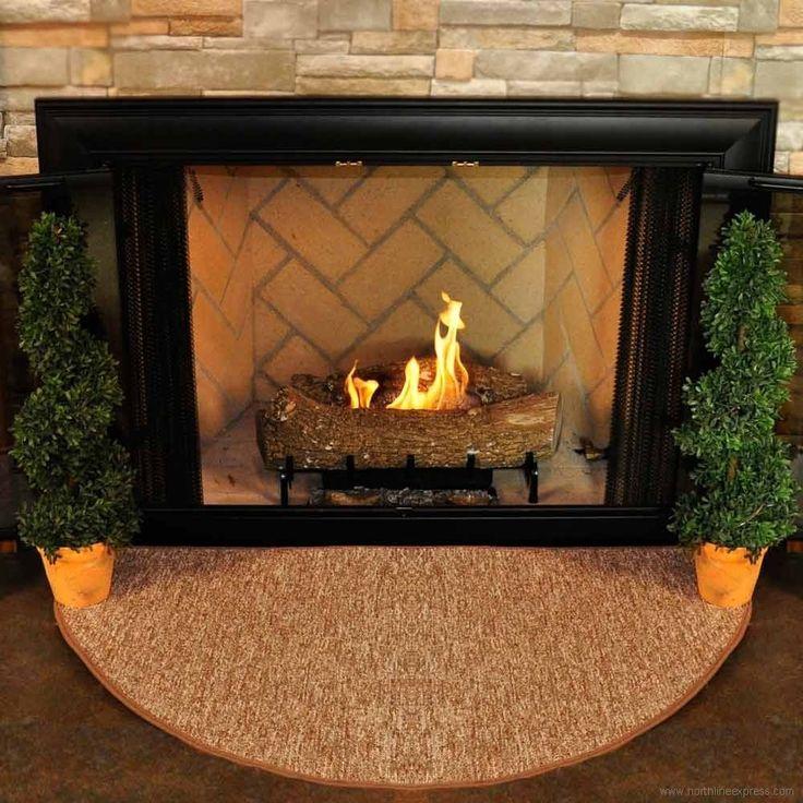 Flame-Resistant Fiberglass Half-Round Hearth Rugs