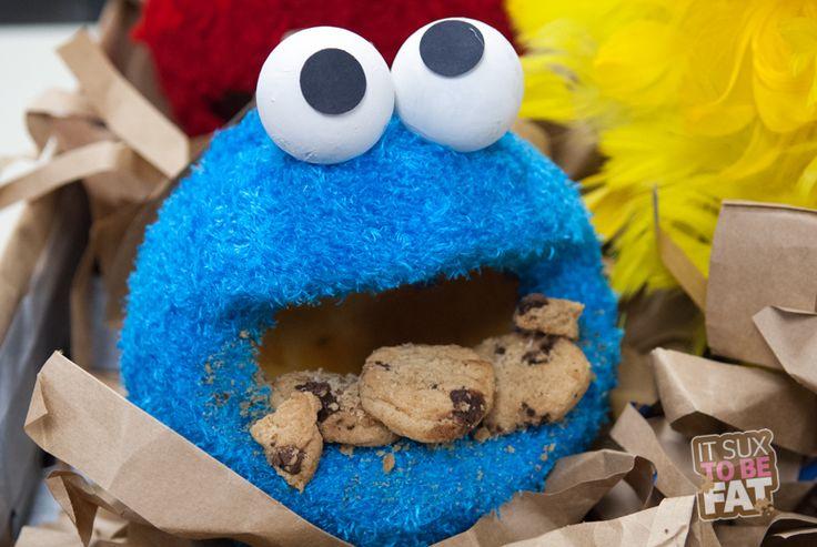 Cookie Monster Pumpkin made with real fur. #cookiemonster #halloween #pumpkin