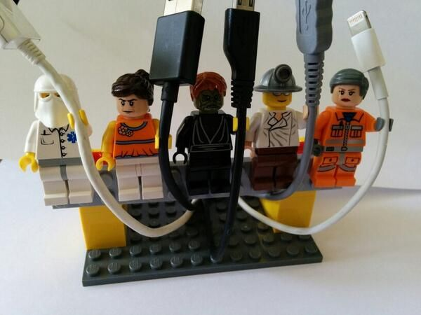 """Cord holder made out of Legos(tm), found image on Twitter """"@dougclow"""""""
