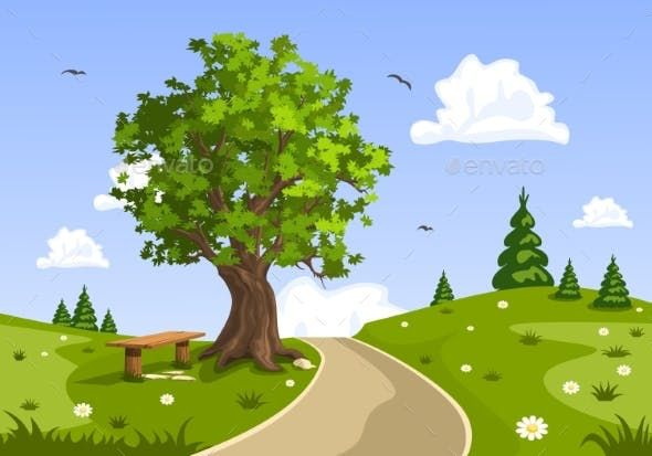 Serene Summer Day Landscape Nature Vector In 2020 Nature Vector Landscape Illustration Landscape