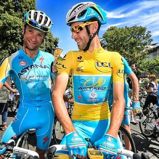 TdF 2014 - 8 : Italian boys Michele Scarponi & Vincenzo Nibali of Astana.