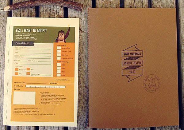 Contoh Desain Gambar Buku Laporan Tahunan - WWF Annual Review 2013 Kit oleh Valen Lim Chong Chin