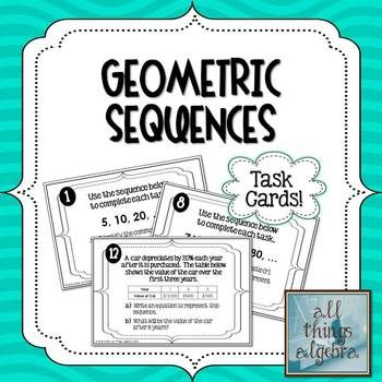 Students will practice identifying the common ratio of a geometric sequence, writing a formula to model a geometric sequence, and using a formula to find a specific value within a geometric sequence by working through these 12 task cards. Real world models are included.A recording worksheet is included for students to record their answers.