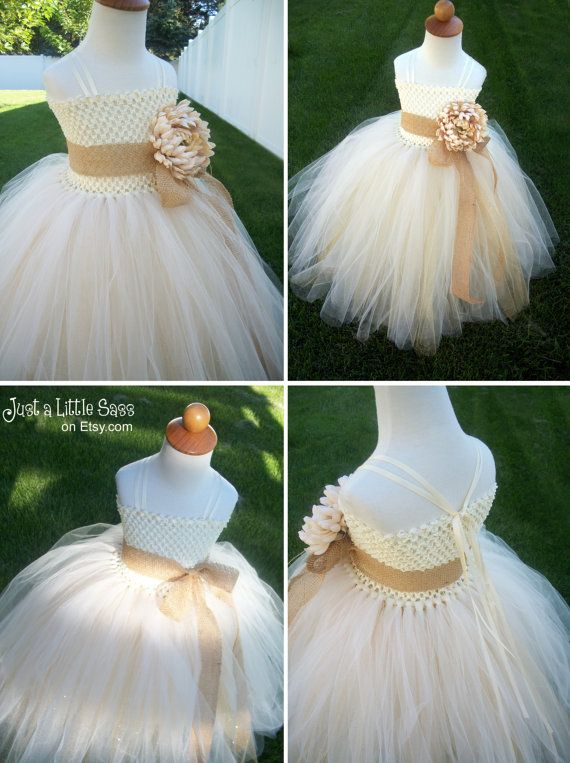Flower Girl Tutu Dress with Removable Straps -  Rustic Elegant Champagne and Ivory Tulle with Burlap Ribbon and Glitter Tulle