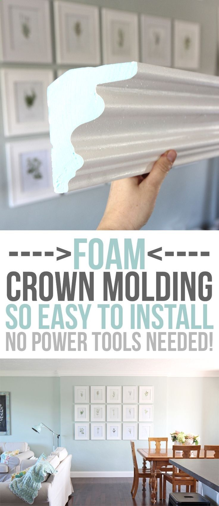 FOAM crown molding is easier to install than traditional molding, but once its up, it looks the same! No power tools required, it is installed with glue. Pre-made corners available too! DIY home upgrades for the beginning remodeler.