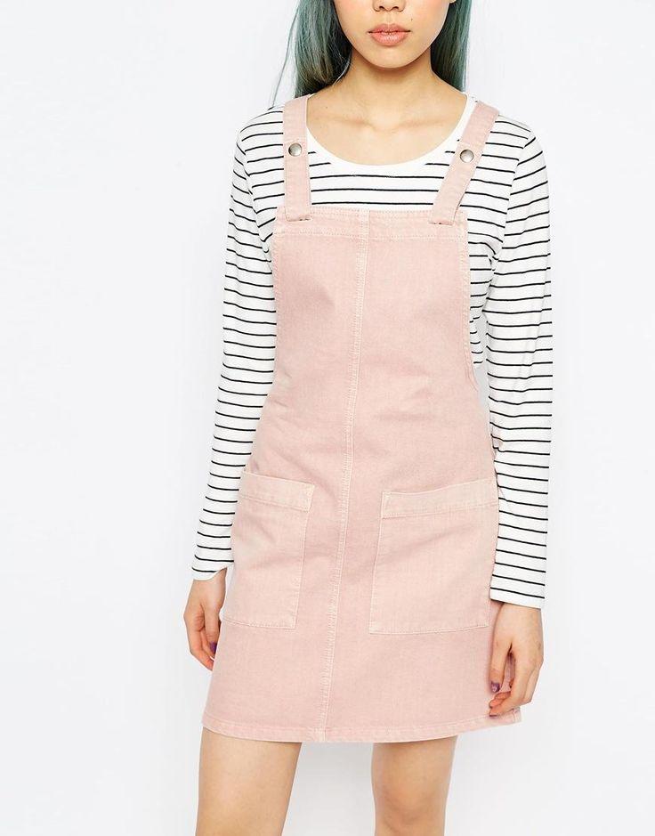 Pink   ASOS Denim Pinafore Dress In Pink at ASOS