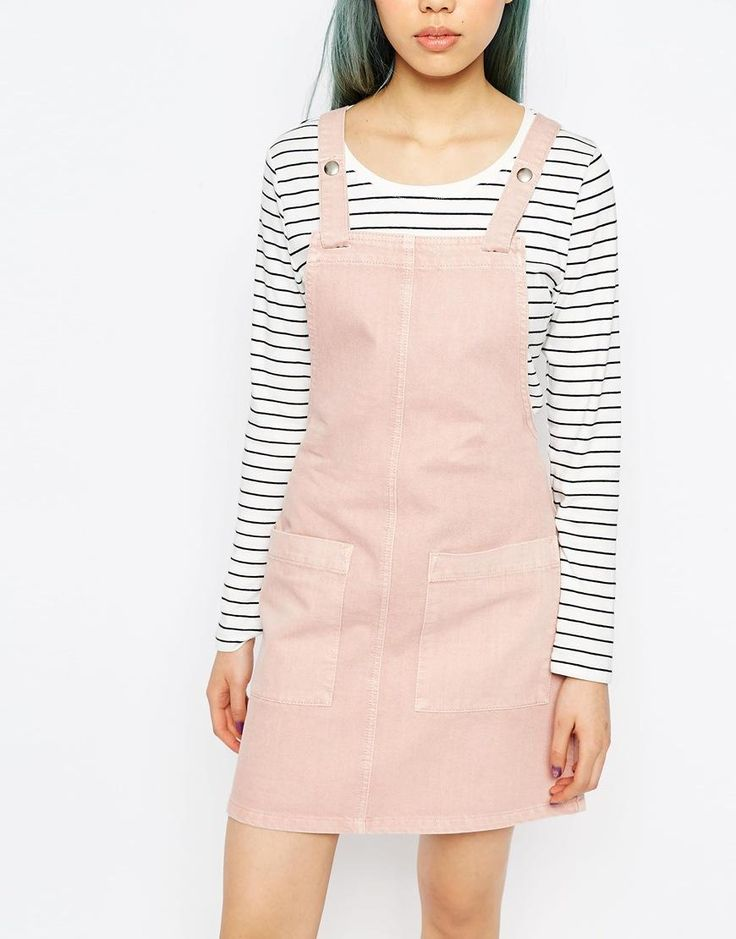 Pink | ASOS Denim Pinafore Dress In Pink at ASOS