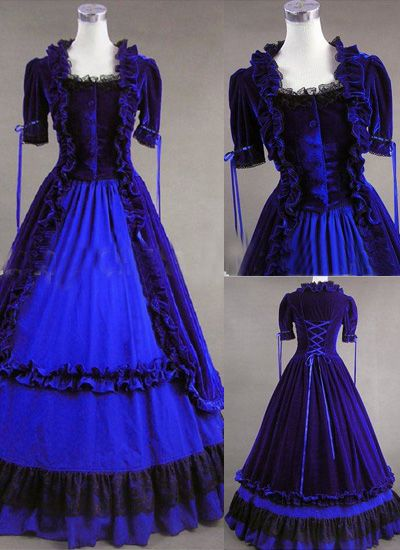 Classic Blue Gothic Victorian Dress [vugv2365] - $219.98 : Cheap Dresses Online - Buy Evening Dresses,Party Dresses Online
