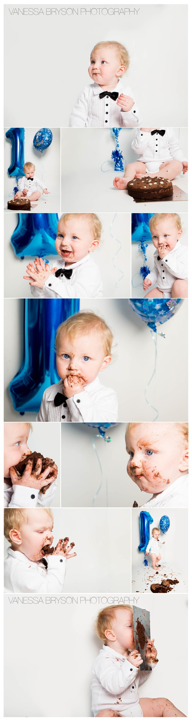 Cake smash for Elliot's 1st birthday!   See more here at www.facebook.com/vanessabrysonphotography
