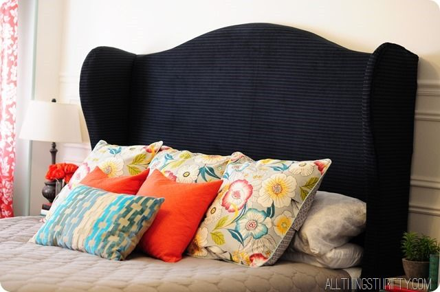DIY Wingback Headboard Tutorial with FREE pattern – All Things Thrifty