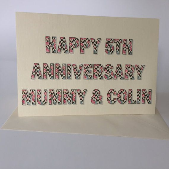 Luxury Personalised 5th or any year Anniversary by weheartcards