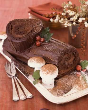 Yule Log Cake with buttercream