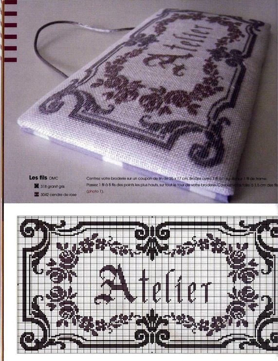 Atelier Cross stitch chart-translates to workshop or artist (wikipedia)