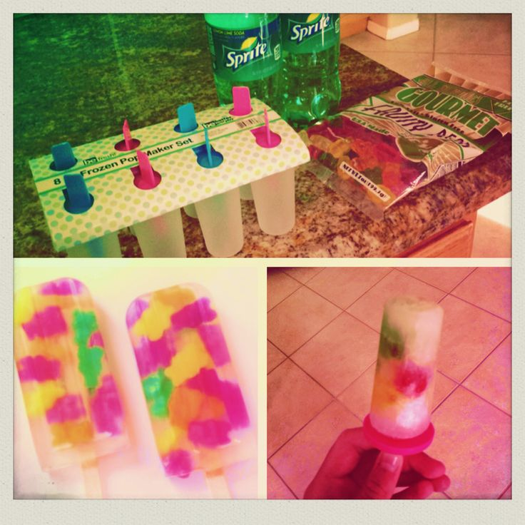 Made my own sprite & gummy bear popsicles based off a pic I saw! The original picture is on the left, and my creation is on the right! Just purchase a popsicle mold, a bag of gummy bears, and some sprite. Fill up all of the molds 3/4 of the way with sprite and add about five gummy bears to each mold. Leave in the freezer until frozen. Cheap, easy, fun, and delicious! Great summer treat!