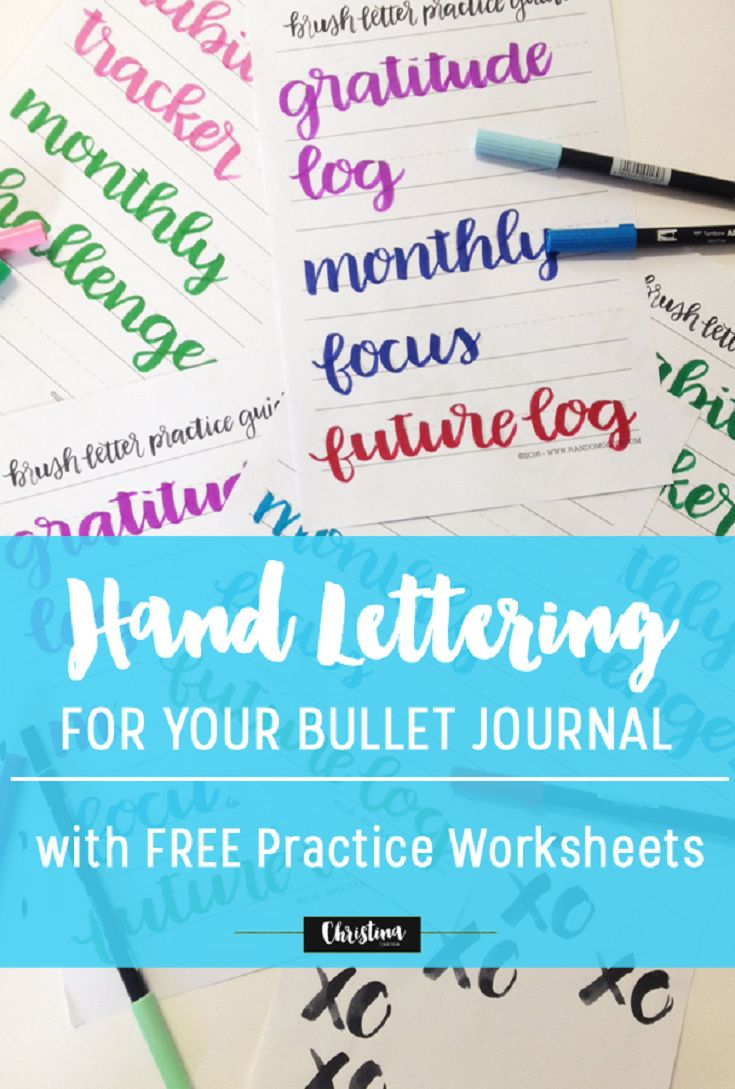 Collaboration: Free Brush Letter Practice Guide for your Bullet Journal