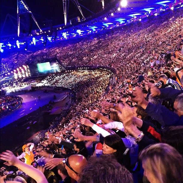 The crowd singing along to musical performances of Great Britain's Top musical artists at the The London 2012 Olympic Games #ClosingCeremony #NBCOlympics (Photo: Anthony Quintano / NBC News)