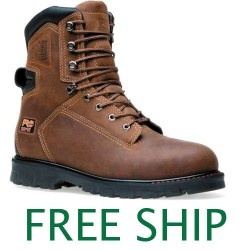 """Timberland Pro 85577 8"""" Thermal Force Soft Toe Brown Full-Grain Oiled Leather Boots"""