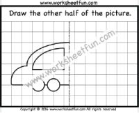 Draw the other half – Car – One Worksheet