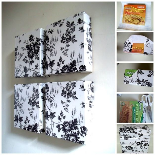 Wall Hangings DIY: Cover boxes with decorative paper and mount them on the wall like this blogger for simple decorative art.