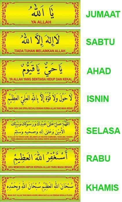 Recite this zikir according to the days given. Make it routinely. ..