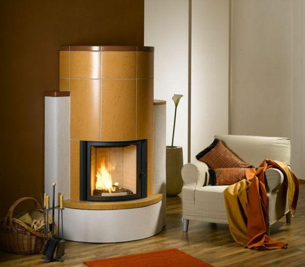 Wohnzimmer Wohnideen runde kachelöfen coole wohnideen heizkamin gelb fliesen wohnzimmer ideen stove
