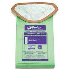 Proteam 107314 Intercept mirco filters and vacuum bags for Super Coach Pro 6 backpack vacuums are a professional, commercial-grade filter bag that traps dangerous spores and pollen than can trigger asthma issues. These microfilter bags fit the newer SuperCoach Pro 6 backpack vacuums. 10 - 6 quart vacuum bags filters per pack.
