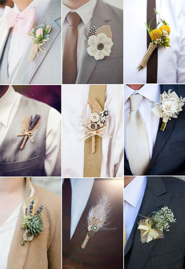 groom boutonnieres with burlap rustic accents