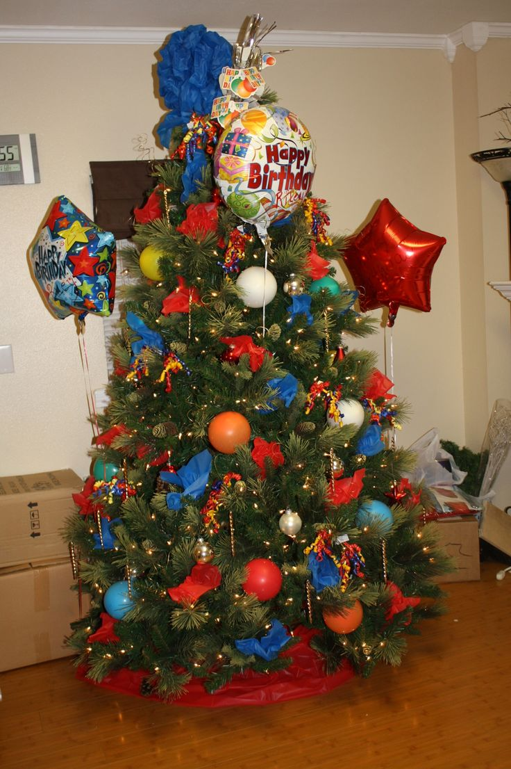 Birthday tree decorated from dollar store--total cost $12!