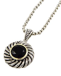 "15"" + EXT Black Cubic Zirconia Round Pendant Necklace Retail - $31.50 You Pay - $15.75 w/ free shipping in the US."