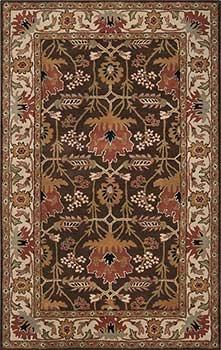 Mission rug, Arts and Crafts rug, Bungalow rug, Craftsman rug. Beautiful colors: golden brown, raw umber, bronze, coffee bean, jet black, dark olive green, sienna and desert sand. Soft hand-tufted wool. AUR-1031