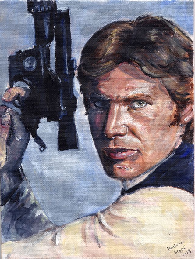 Harrison Ford as Star Wars' Han Solo. Acrylics on 18cm x 24 cm (7.3″ x 9″) canvas board. Painted in 2015.